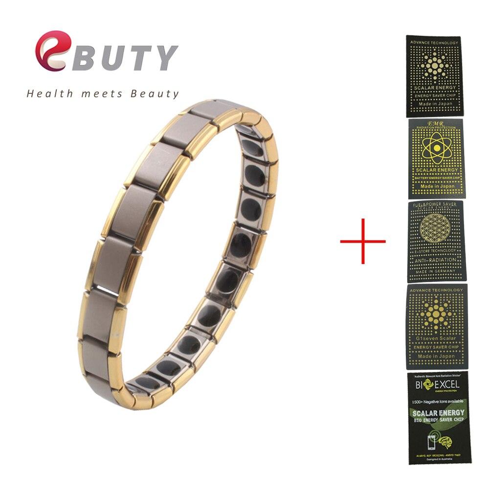 EBUTY Stainless Steel Bracelet Germanium Energy Health Fashion Jewelry Gift Bangle for Men & Women + Phone Anti Radiation Shield