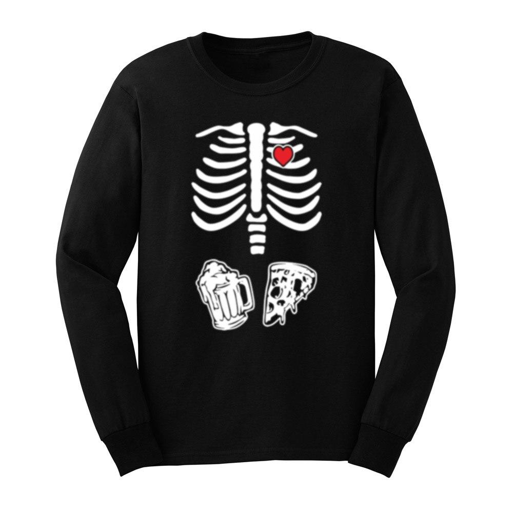 Camiseta de manga larga para hombre esqueleto pizza Maternidad y cerveza Halloween