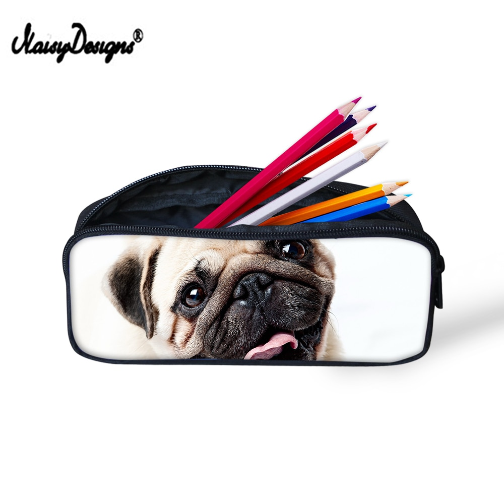 Bolsa bolsas de lápices para estudiantes lindo perro Pug pluma para niños caja portalápices suministros escolares carcasas de maquillaje para mujeres