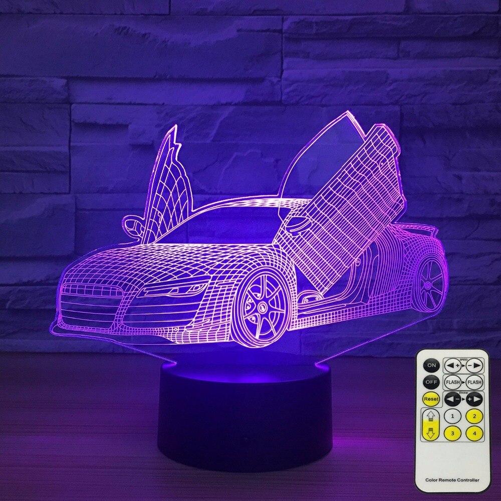 Toque remoto Control tijeras puerta supercoche 3D lámpara 7 Color Led lámpara de noche para niños táctil Led Usb Lámpara de mesa Lampara luz nocturna