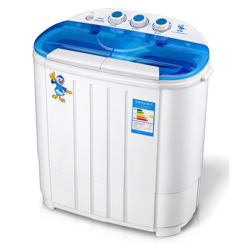 Mini lavadora de capacidad de 3,6 kg, Tina doble, calcetines semiautomáticos, lavadora de ropa de bebé con fuerte Función de deshidratación, pequeña