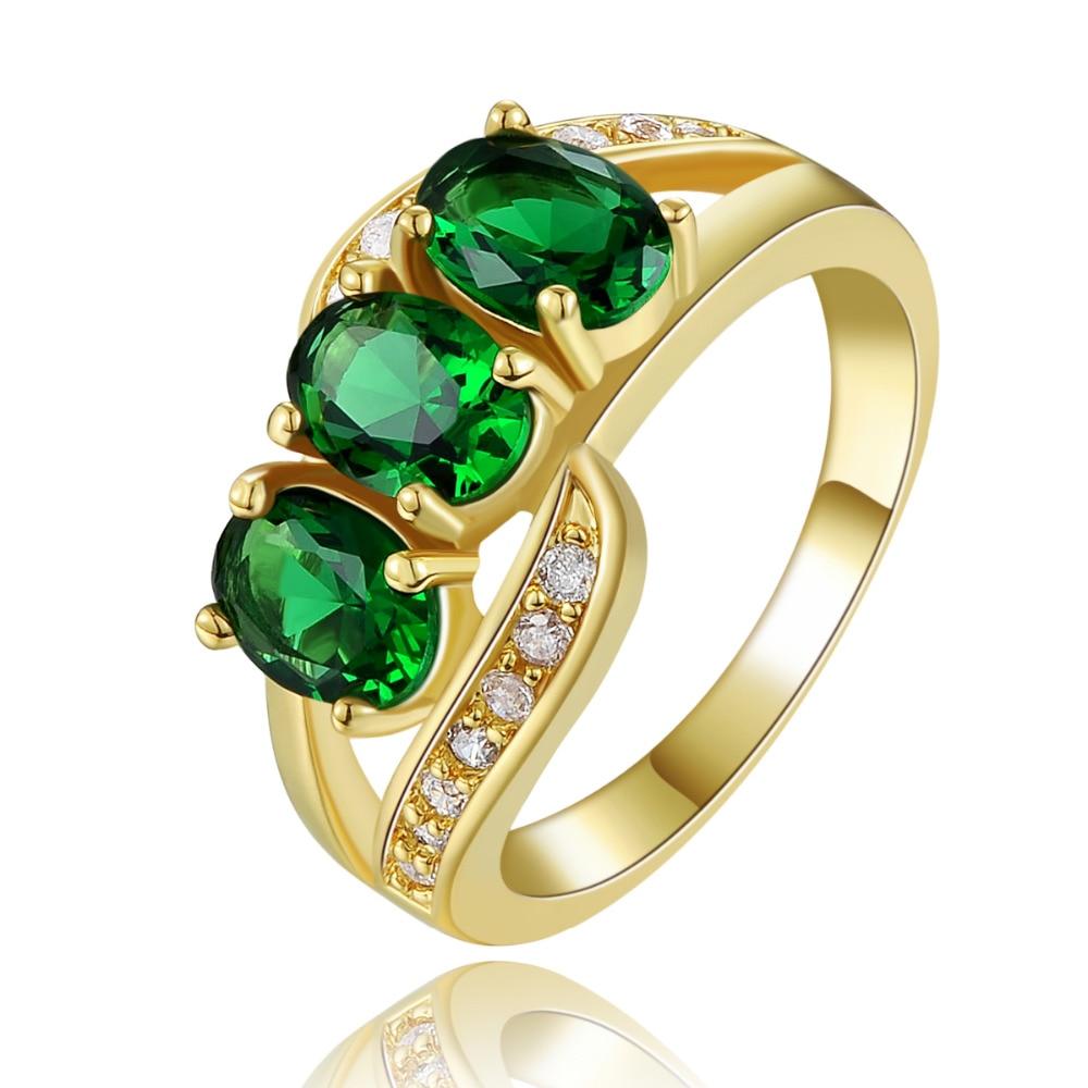 Anillo increíble SuoHuan tamaño 6-10 para mujer, circonio verde, piedra de cristal, oro, dedo relleno, anillo de aniversario femenino, regalo de joyería