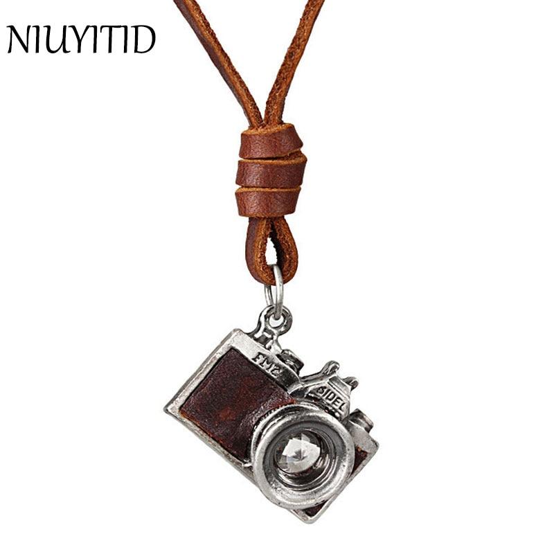 Niuyitid masculino couro pingente colar para vintage punk câmera moda longo couro genuíno corrente colar masculino accessoires homme
