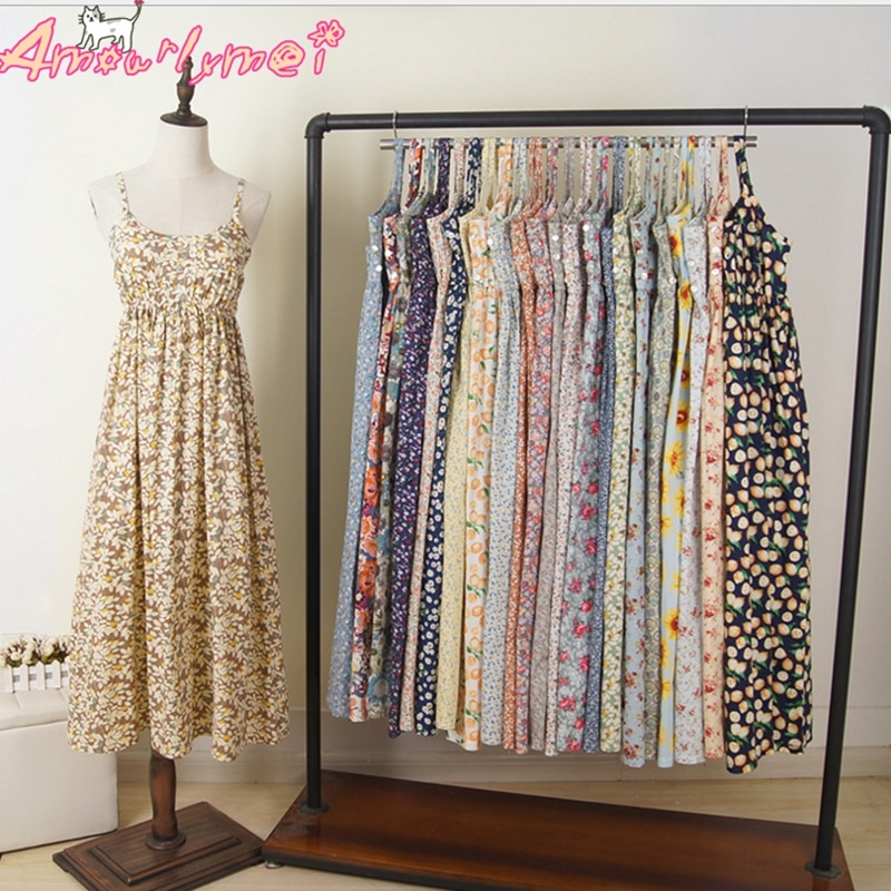 Cute Mori Girl Dress 100% Cotton Summer Vestidos Women Sexy Spaghetti Strap Casual Beach Floral Print Maxi Long Dress