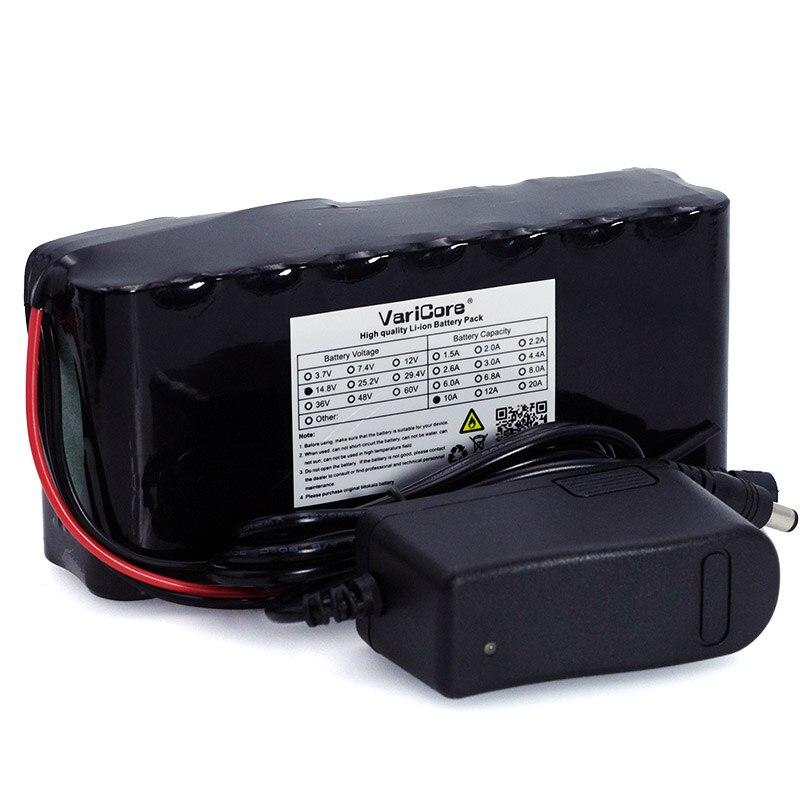 VariCore 10Ah 18650 li-ion bateria de 14.8 v aquecedor de noite lâmpada de pesca lâmpada de mineiro bateria amplificador com BMS + 16.8 v Carregador