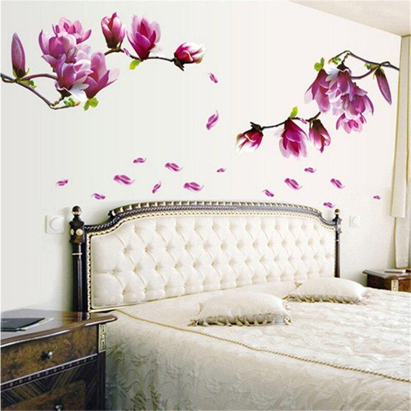 Adhesivo de Magnolia blossoms de moda, Adhesivo de pared, papel tapiz para salón extraíble, pegar Flores, DIY, decoración para dormitorio, hogar, EJ877325