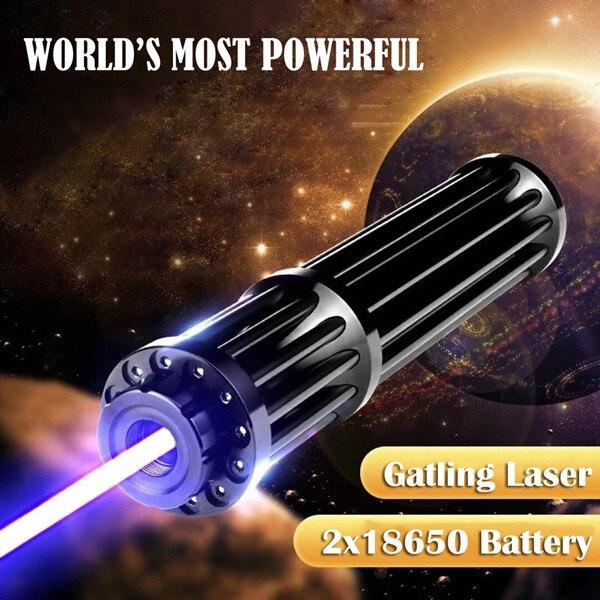 QIYING 450nm 5000m punteros láser azul Lazer linterna fuego fósforo/quemar cigarros de luz/vela pluma de alimentación con 18650 batería