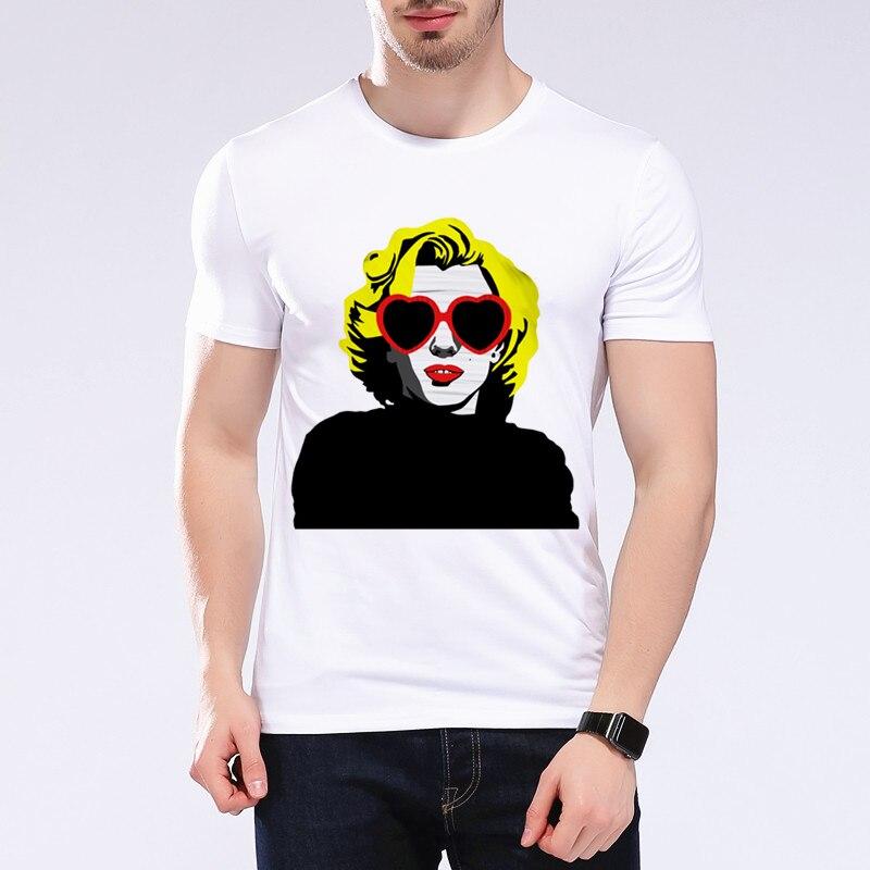 Recién llegado, moda moderna, Sexy, Marilyn Monroe, con gafas de sol, par de camisetas, Kawaii, Hiphop, estampado gráfico, camiseta para hombre L1C46