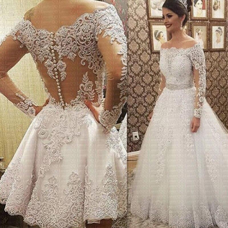 Vestido de noiva 2 em 1, vestido de noiva luxuoso, gola barco, mangas compridas, pérolas pesadas, 2020 mariee vestidos de noiva,