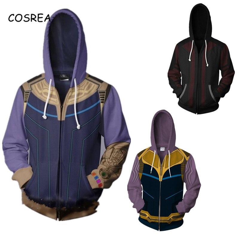 Cosplay zíper hoodie masculino thanos traje de halloween loki tony stark moletom com capuz thor agasalho para meninos