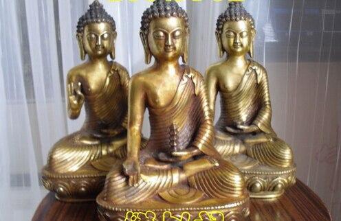 Bi001688 3 peças Tibetano Budista bronze dourado SHAKYAMUNI amitabha buda da medicina