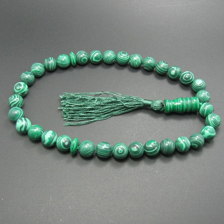 Malaquita piedra sintética verde 33 TESBIH musulmán cuentas de oración islámica Tasbih musulmán Allah rosario para rezar
