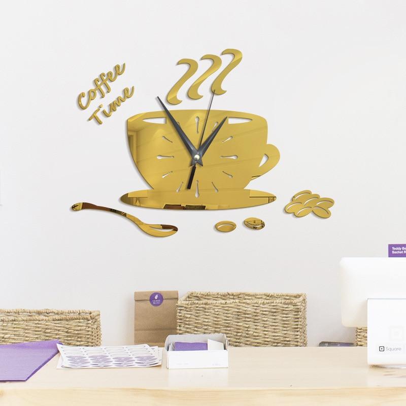 3D DIY Coffee Cup Wall Clock Modern Design Creative Kitchen Watch Mechanism Acrylic Mirror Clocks Relogio Parede Home Decor 125