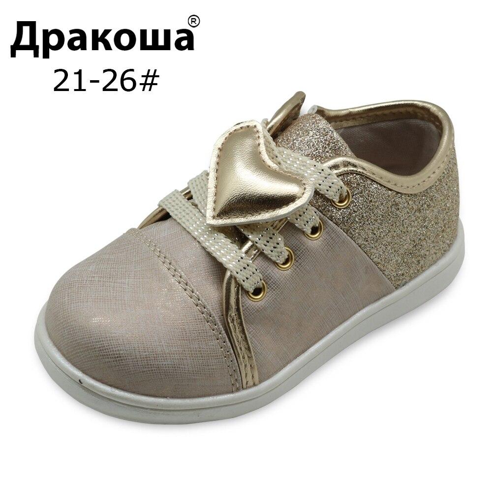 Apakowa enfants filles chaussures printemps automne filles Sneaker mode enfants baskets en cuir synthétique polyuréthane pour enfant en bas âge filles chaussures décontractées coeur