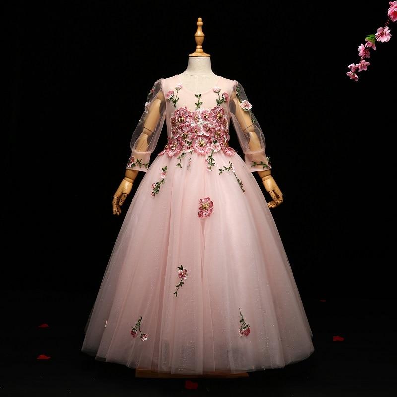 Royal Kids Girl Princess Dress Long Sleeve Embroidery Ball Gown Floor Length Flower Girls Dresses Communion Dress Pageant A74