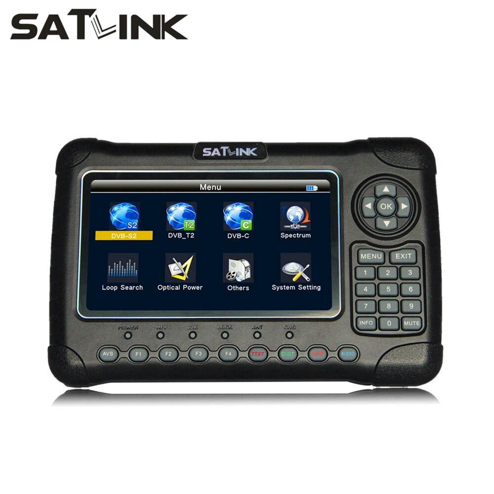 SATLINK WS-6980 DVB-S2/T2/كابل كومبو كشف الطاقة البصرية الطيف محلل الأقمار الصناعية مكتشف متر MPEG4 H.265 Satfinder