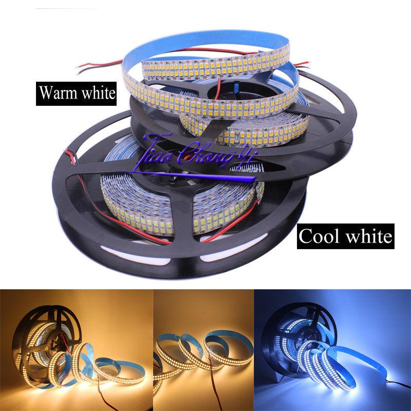 5M Super brillante 480LEDs/m 2400LEDs/5m 2835 blanco cálido/blanco frío 12V doble fila Flexible tira de LED