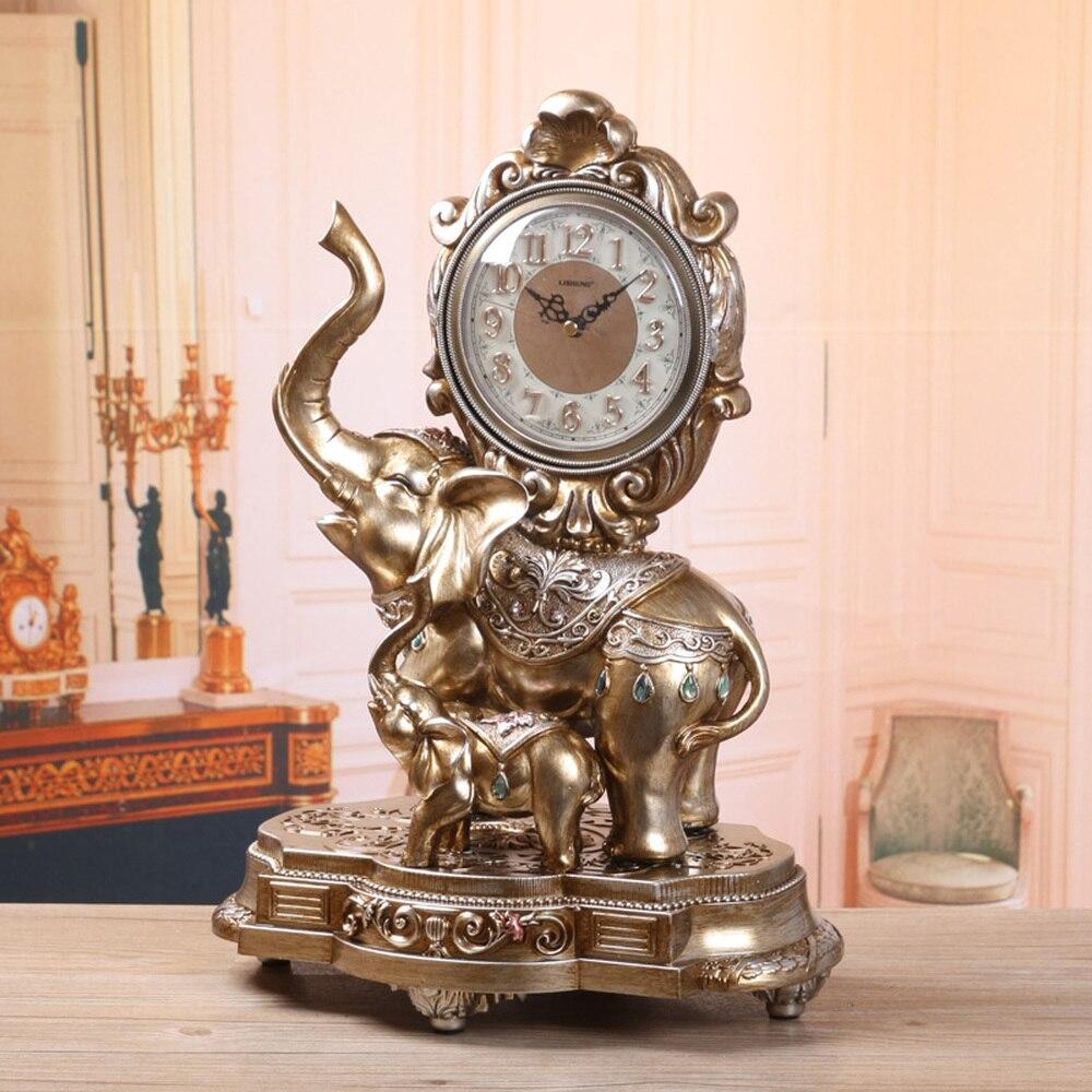 Relógio de Cabeceira Estilo Europeu Elefante Relógio Sino Moda Mudo Mesa Cabeceira Lu606516 1 Pçs