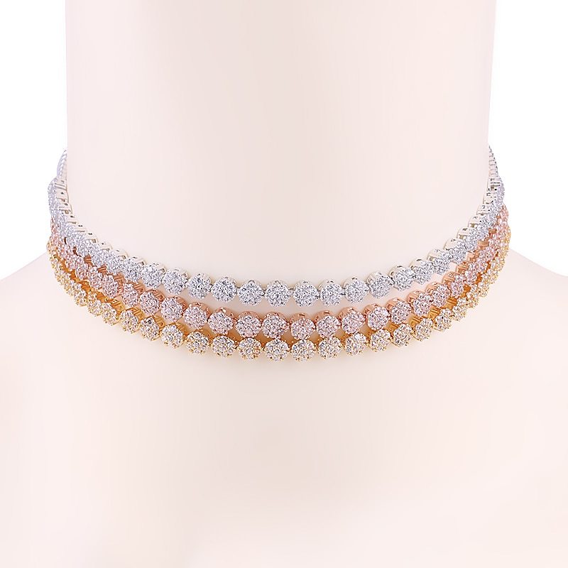 WEIMANJINGDIAN recién llegado pequeño redondo con forma para pastel Zirconia cúbica CZ gargantillas Collar para mujeres