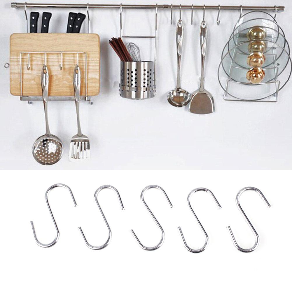 10 pcs Stainless Steel S Shaped Hanger Hook Kitchen Bathroom Clothing Hanger Hooks Railing Clasp Holder Hooks For Pot Hanging