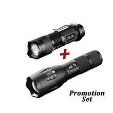 UltraFire ensemble XM-LT6 chaude tactique lampe de poche LED + Q5 Mini lampe de poche lanterne Zoom étanche torche Luz lanterne 18650 lampe de poche