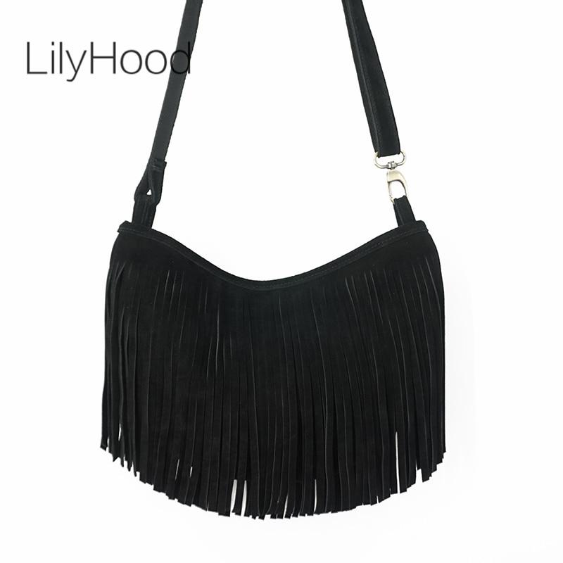 LilyHood 2021 نساء جلد طبيعي طويل هامش حقيبة كتف شرابة بوهو الهبي الغجر القوطية روك الموسيقى حقيبة كتف المؤنث