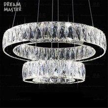 Modern Crystal 2 rings LED pendant lamp  Lustre living room lamp suspension pendant lights bedroom dining room luster lighting
