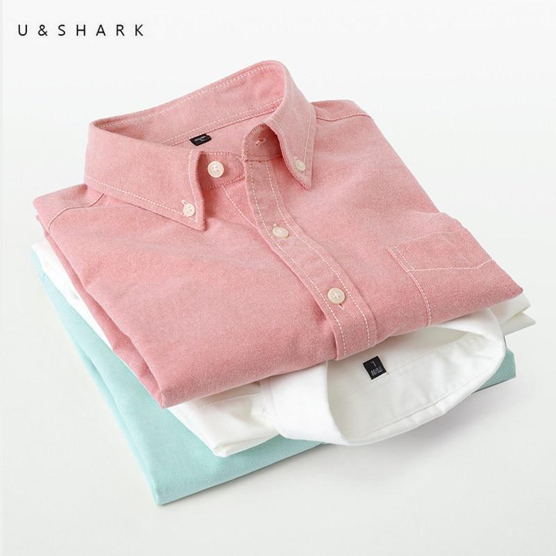 U & SHARK 2020 Camisa de algodón Oxford para hombre, camisas de vestir, ropa de marca, camisas casuales de manga larga, camisa Social ajustada para hombre