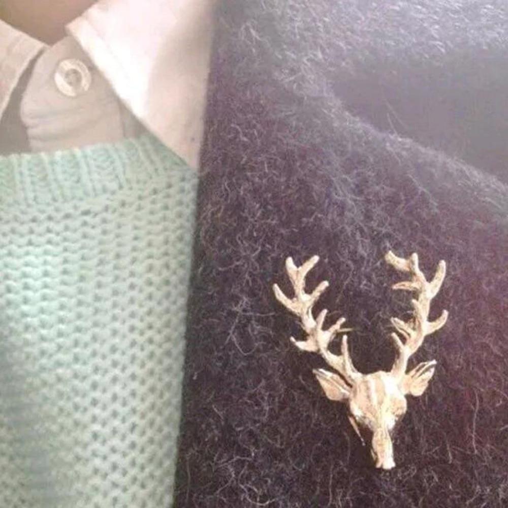 Mode chaude alliage broche unisexe noël Animal broche mignon or cerf bois tête broche broches écharpe manteau épinglettes bijoux