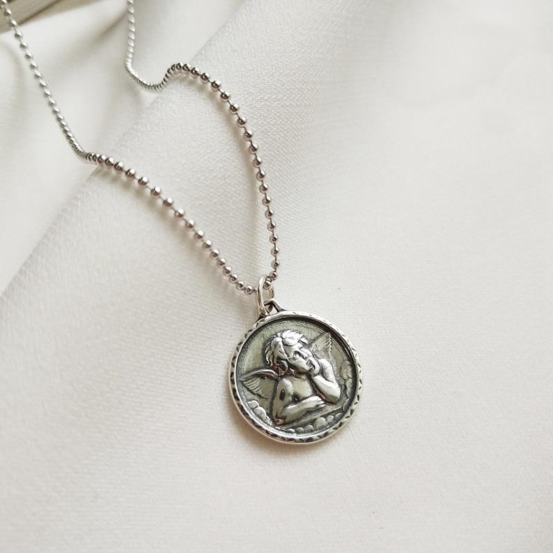 Calidad de la plata esterlina 925 Ángel guardián colgantes collar imagen figura diseño collar estilo salvaje para mujeres de moda joyería fina