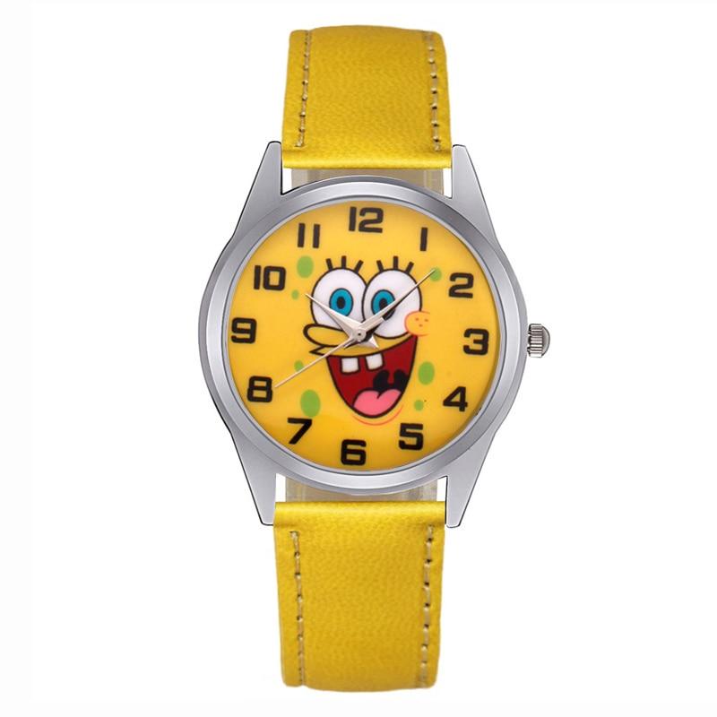 Moda senhoras pulseira relógio dos desenhos animados spongebob relógios mulher couro relógio de quartzo presente da menina mujer reloje montre femme