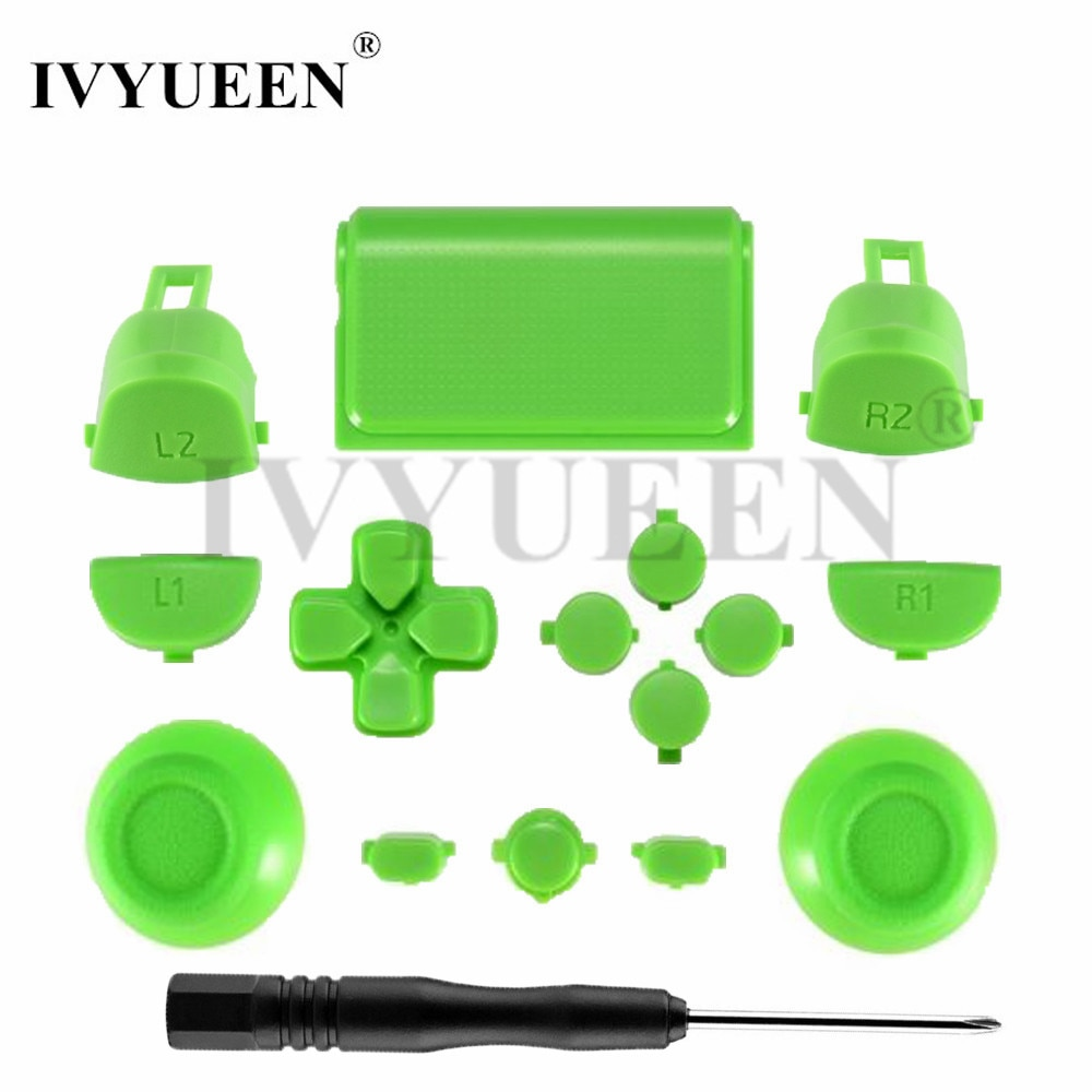 IVYUEEN para Play Station Dualshock 4 PS4 Pro controlador JDM-040 JDS 040 R2 L2 R1 L1 botón de disparo verde blanco azul versión 4,0