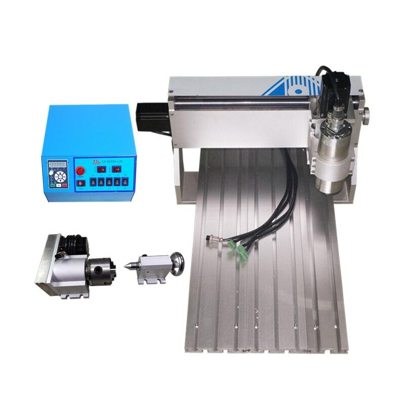 Máquina de grabado CNC router 3 ejes 4 ejes 3040V 800W 1.5KW eje de rotación