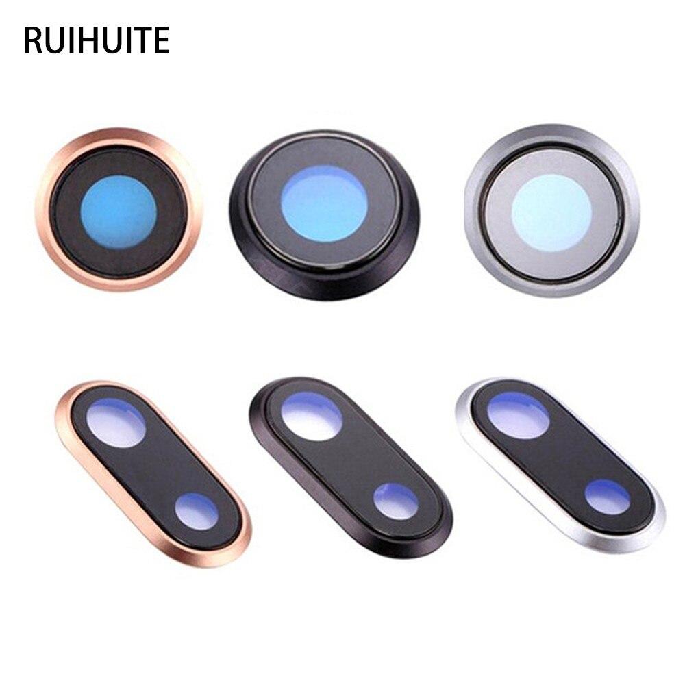 Cubierta de lente de cristal de cámara y piezas de repuesto de marco para iPhone 8 i8 Plus i7