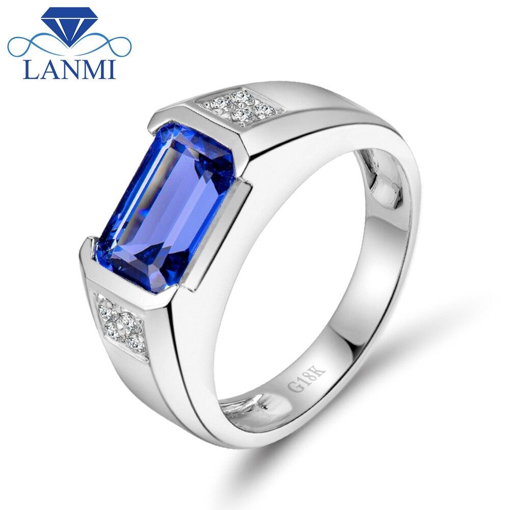 3.19ct natural diamante tanzanita anéis em 18kt ouro branco aaa tanzanita anel de casamento para homem fino tanzanita jóias wu292