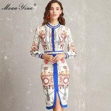MoaaYina Fashion Designer Runway Dress Lente Vrouwen Ruches kraag Lange mouw Ruches Streep Afdrukken Slanke Packet hip Elegante Jurk
