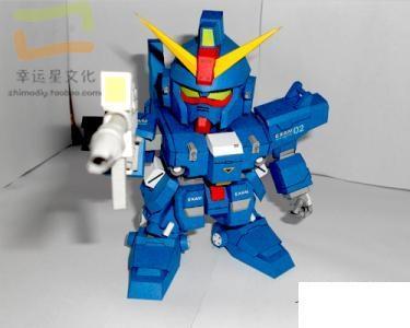 SD Gundam Series RX-79BD-02 Blue Destiny Machine 2 3D Paper Model DIY Manual