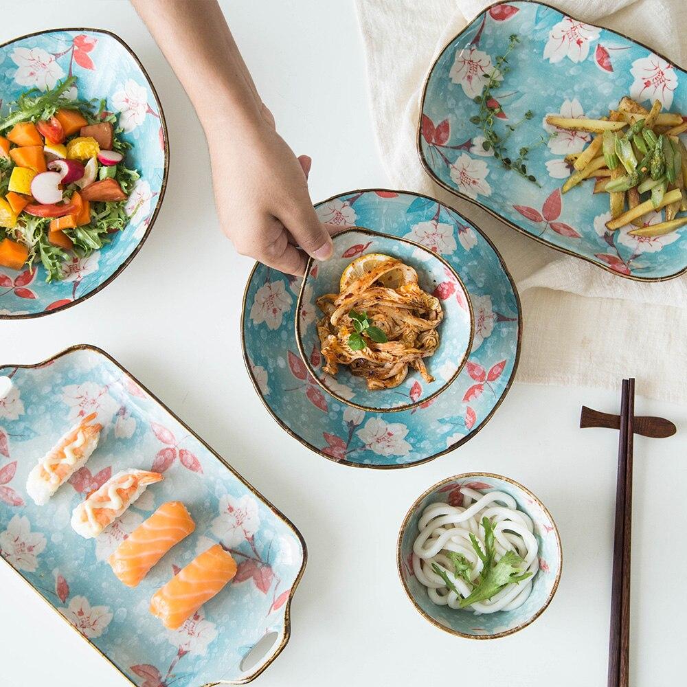 Copo de nieve japonés Glaze Magnolia Series vajilla de cerámica tazón de arroz plato de pescado salsa tazón de sushi plato
