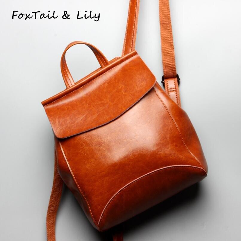 FoxTail & Lily-حقيبة ظهر جلدية بنمط شمع الزيت ، حقيبة سفر نسائية ذات سعة كبيرة ، حقيبة مدرسية للبنات