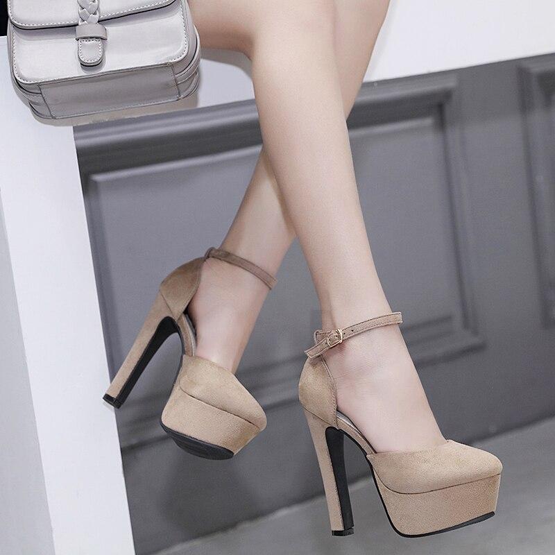 Sandalias de mujer estilo americano y europeo de verano tacón súper alto sandalias de 14CM con tapa de bombas Sandalias de tacón femenino tamaño 35-39