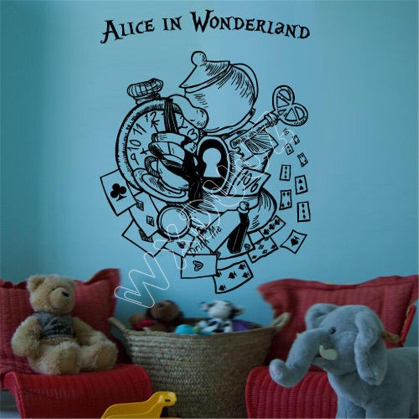 WXDUUZ Наклейка на стену виниловая Алиса в стране чудес Кролик кошка все были злы здесь Цитата гостиная детская комната настенная наклейка B399