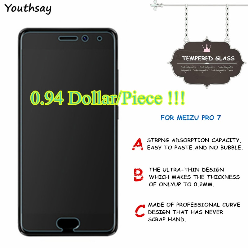2pcs For Glass Meizu Pro 7 Tempered Glass For Meizu Pro 7 Protector For Meizu Pro7 Glass Protective Film 5.2 inch Youthsay