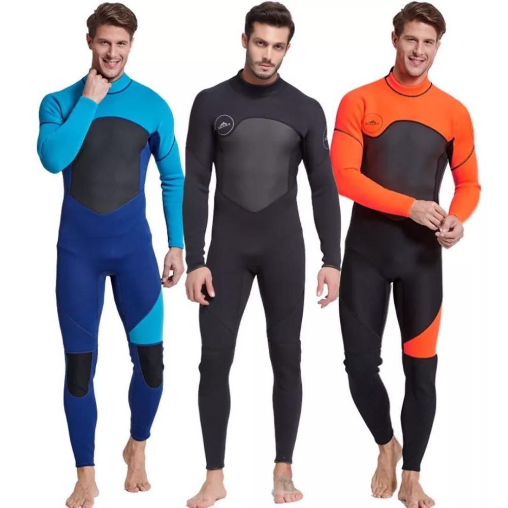 بذلة رجالي لكامل الجسم ، 3 مللي متر من النيوبرين بأكمام طويلة بدلة غوص-مثالية للسباحة/غوص السكوبا/الغطس/ركوب الأمواج برتقالي