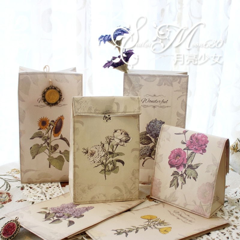 6 unids/set bolsas de regalo de Navidad Vintage adornos florales panadería creativa Europa América comida de campo bolsa de papel caramelo 22*12*6cm