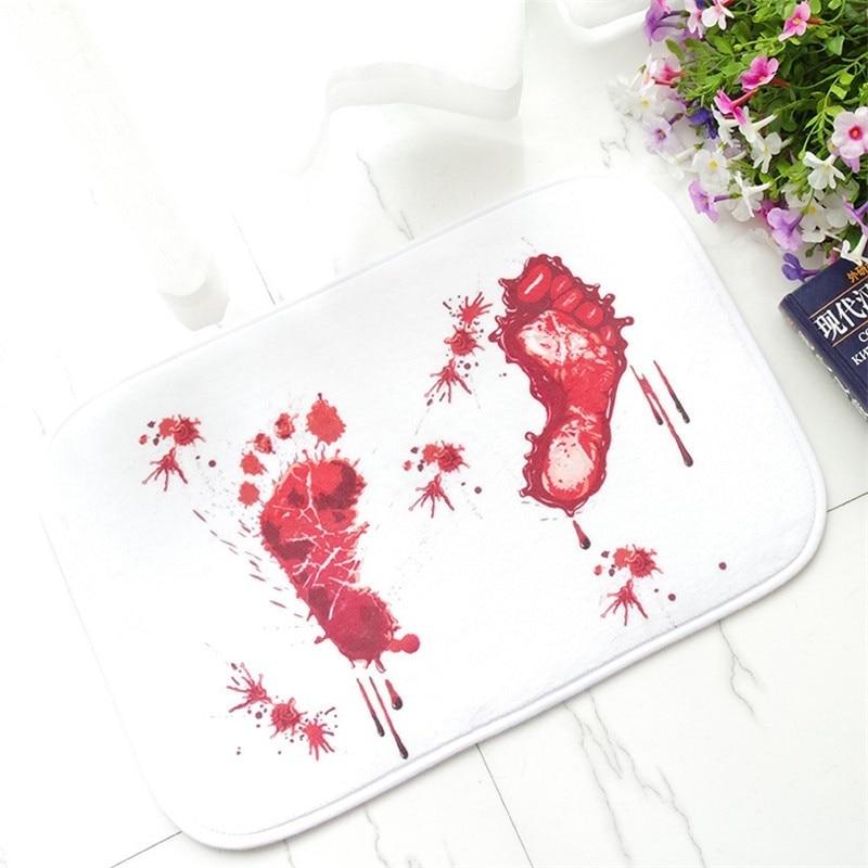 Bathmat Scare Your Friends Blood Bath Bathroom Bloody Footprint Mat Non-slip Rug   9 DC112