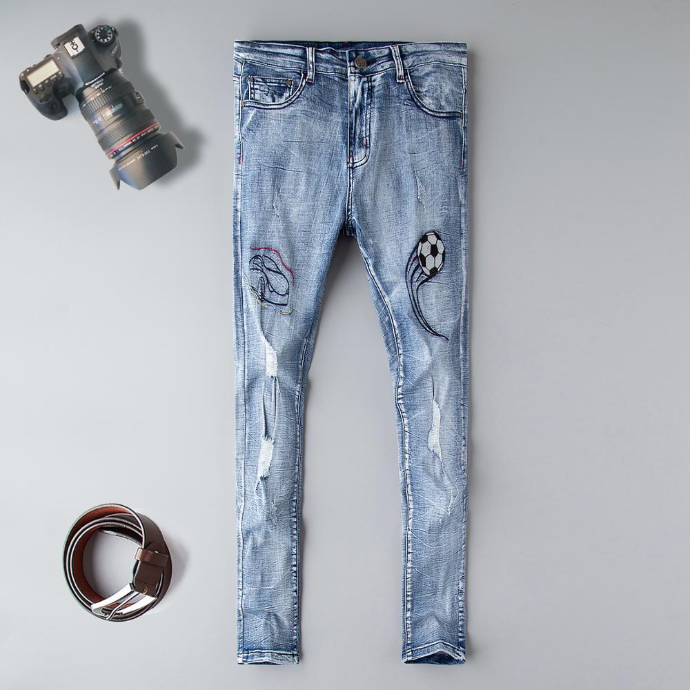 Fashion brand Streetwear Men's Jeans Vintage Blue Color Skinny Destroyed Ripped Jeans designer Pants Homme Hip Hop Jeans Men five pockets destroyed skinny jeans