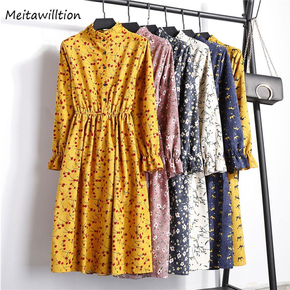 Neue 2020 Herbst Winter Frauen Casual Kleid Elastische Taille Stehen Neck Gedruckt Floral Cord Kleid Weibliche Party Kleid Vestidos