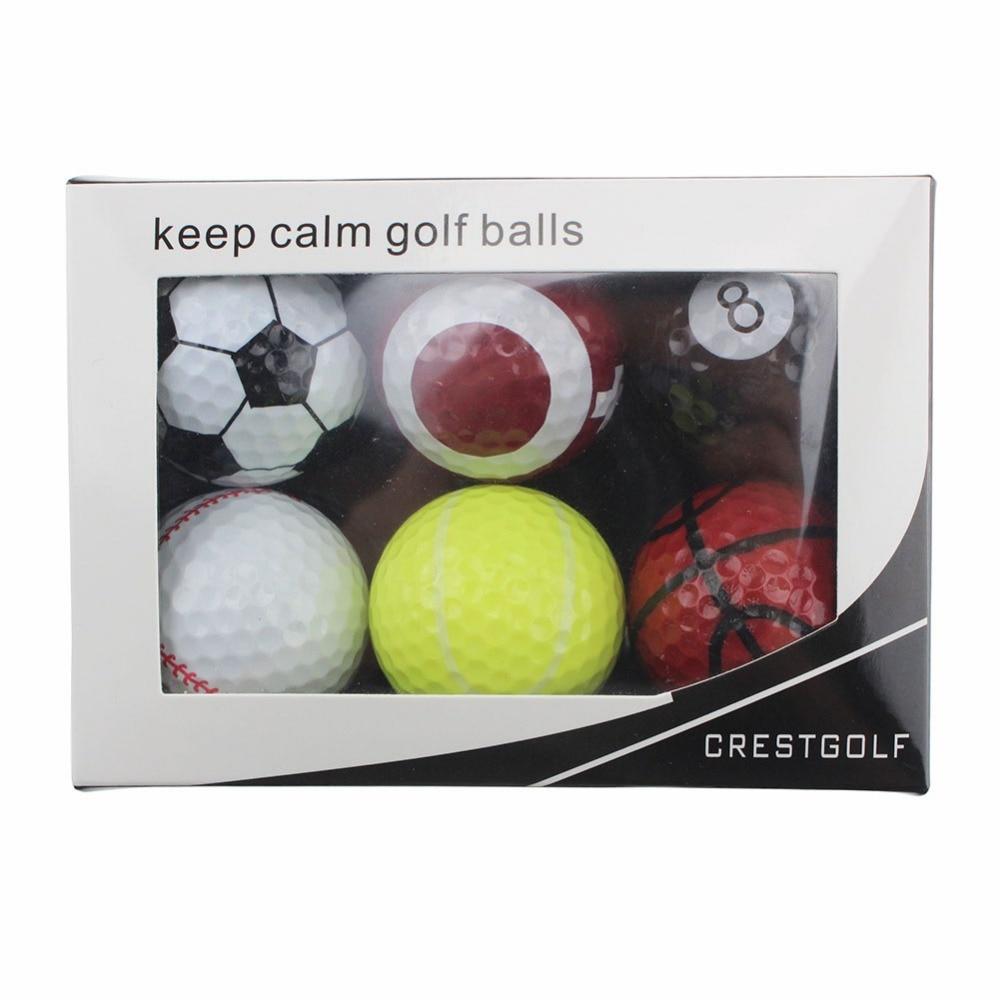 6 шт./упак. Новинка, спортивные мячи для тренировок, мячи для гольфа, двухслойные мячи для гольфа, мячи для игры в гольф в ассортименте с короб...