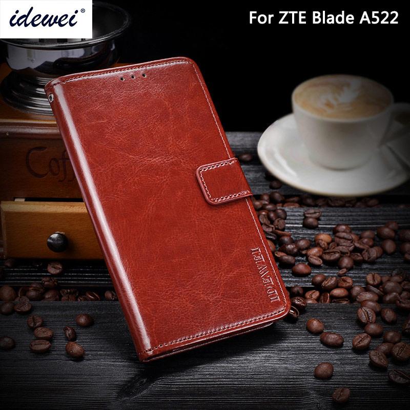 """IDEWEI para ZTE Blade A522 Funda de cuero de lujo funda de teléfono para ZTE Blade A522 funda protectora tipo billetera 5,0"""""""