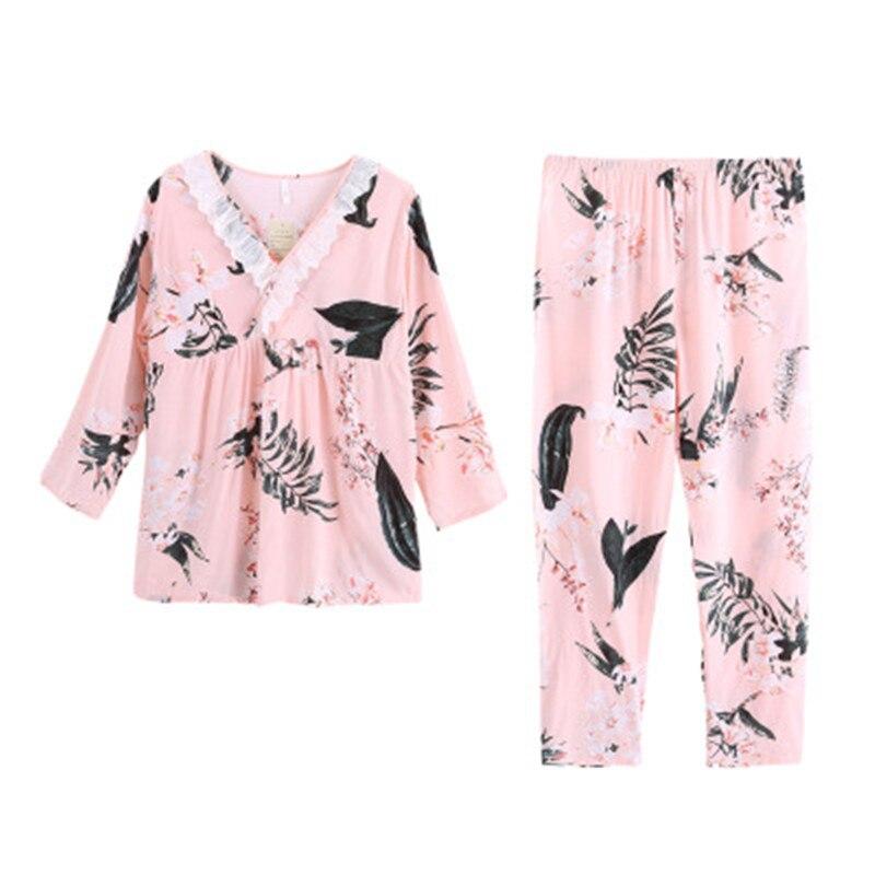 Pijama sexi de encaje con estampado de flores para mujer, pijama 100% de algodón, camisa de manga larga con cuello en V para mujer, ropa de dormir de casa para mamá